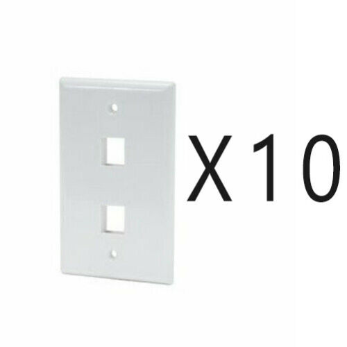 10 Pack Lot - Keystone 2 Hole Port Jack Wall Face Plate Network CAT5e CAT6 White