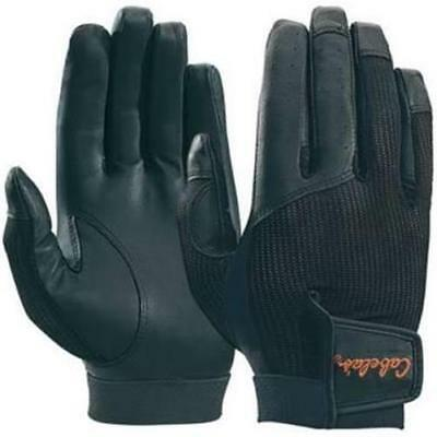 New Cabela's Black Leather Palm Mesh Back Shooting Gloves Lightweight Size L