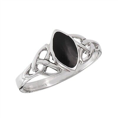 Sterling Silver Celtic Marquise Black Onyx Ring - Free Gift -