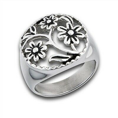 - Stainless Steel Raised Filigree Floral Ring - Free Gift Packaging
