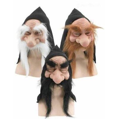 Wichtel Zwerg Goblin Troll mit Kapuze Maske Bart Hobbit Alter Mann Kostüm