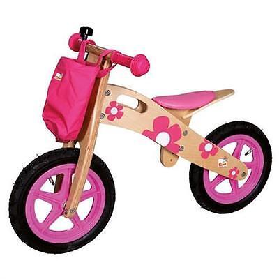 Bino 82707 - Laufrad rosa mit Blumen Fahrrad laufen Rad Klingel fahren Mädchen
