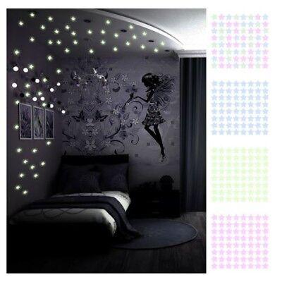 100 X Fluoreszierend Sterne Decke Nachtlicht Kinder Schlafzimmer Dekoration UK