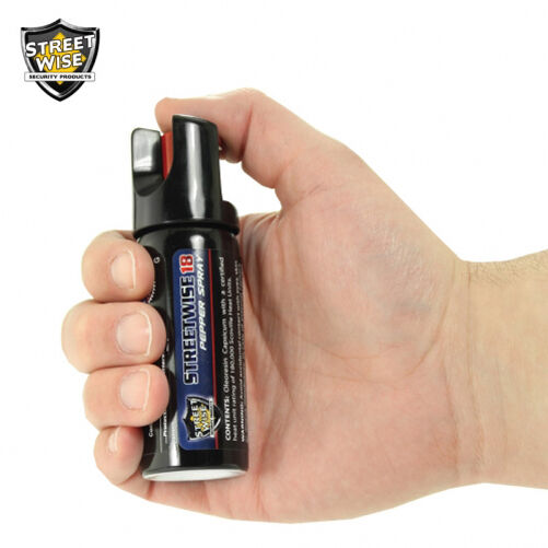 2 Oz Streetwise 18 PEPPER SPRAY And Police Force Heavy Duty Tactical HOLSTER - $12.88