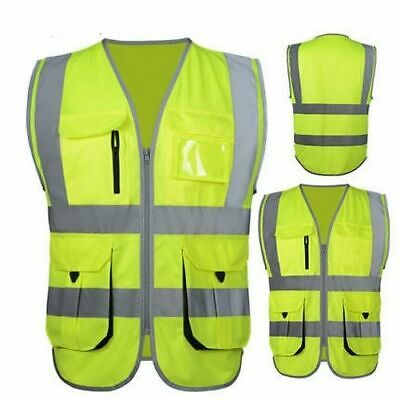 Reflective Safety Vest Gear Multi Pockets Work Waist Coats High Visibility Vests