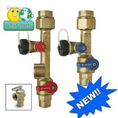 Service Lead - New Tankless Water Heater Service Valve Kit 3/4in Brass Lead Free (Sweat)