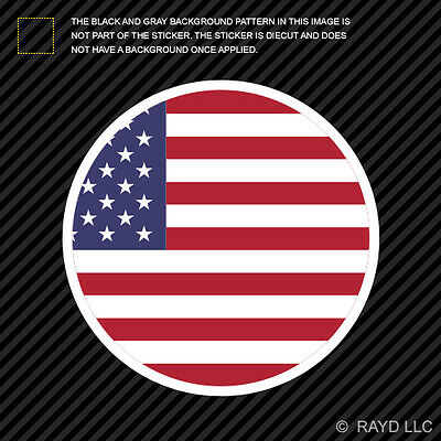 Round American Flag Sticker Die Cut Decal Self Adhesive circle USA America stars ()