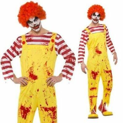Adult Ronald Mcdonald Killer Clown Zombie Halloween Fancy Dress Costume](Ronald Mcdonald Costumes)
