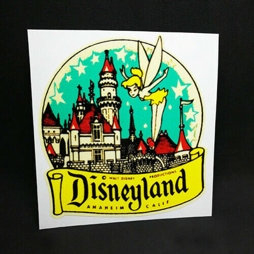 Disneyland Tinkerbell Decal / Vintage Style Vinyl Travel Sticker, Luggage Label
