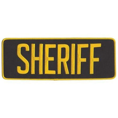 Large Sheriff Back Patch Badge Emblem 11X4 Gold / Brown - Iron or Sew On