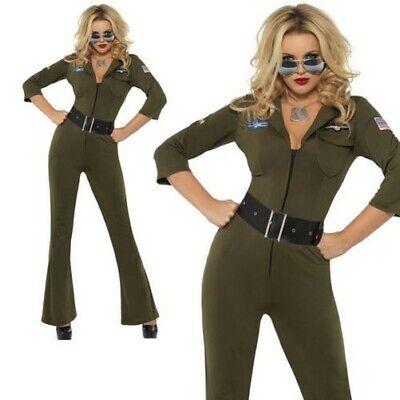 Damen Top Gun Flieger Kostüm 80er Jahre Weiblich Piloten Outfit XS-M