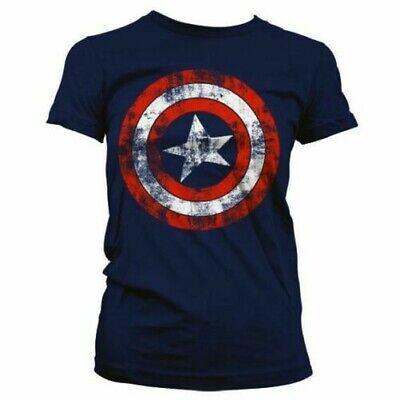 a Abgenutztes Schild T-Shirt - Damen Marvel Avengers Logo (Damen-captain America Shirt)