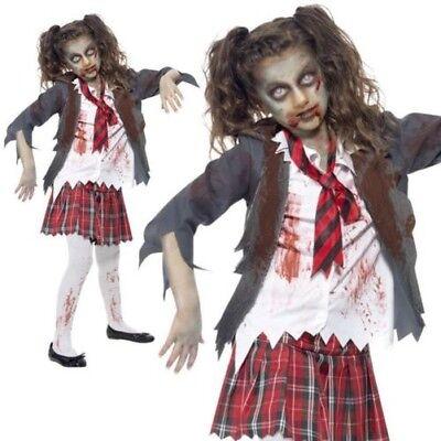 Zombie School Girl Costume Girls Halloween Fancy Dress Horror Outfit