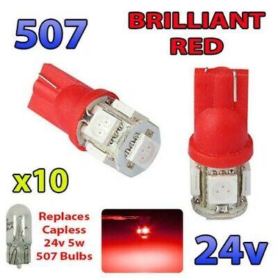 10 X Rojo 24v sin Tapa Luz Lateral 507 501 W5W 5...