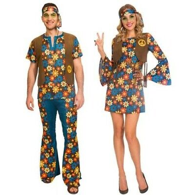 Erwachsene Herren Damen Paar Groovy Hippie 60er Jahre 70er (Hippie Paar Kostüm)