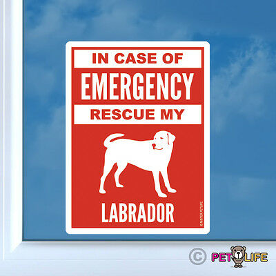 In Case of Emergency Rescue My Labrador Sticker Die Cut Vinyl - Lab V2 for sale  Tustin