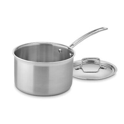 Cuisinart MCP194-20N MultiClad Pro Stainless Steel 4-Quart Saucepan with (Cuisinart Multiclad Pro Stainless Cookware)