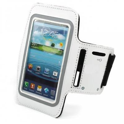 WHITE ARMBAND SPORTS GYM WORKOUT COVER CASE RUNNING ARM STRA