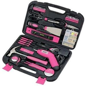 Rechargeable apollo tool set 135 pc kit women girl pink for Garden tool set for women