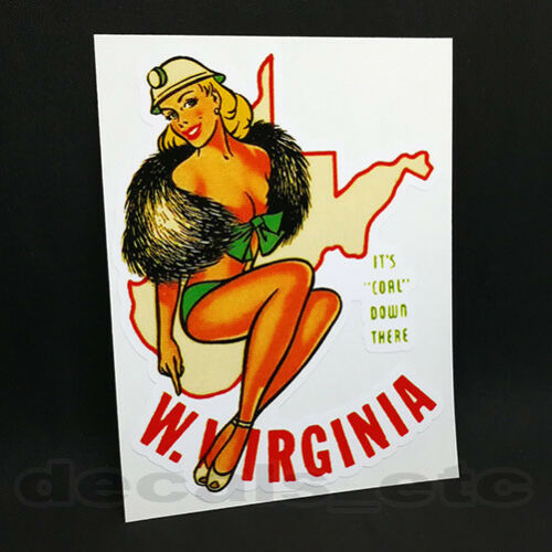 West Virginia Pinup Vintage Style Travel Decal / Pin Up Vinyl Sticker