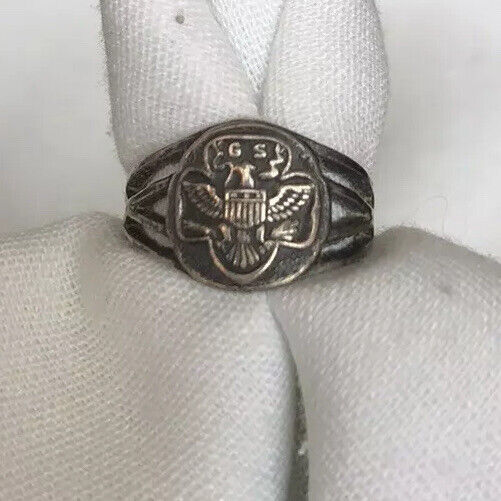 Antique Girl Scout Ring Sterling Silver Adjustable