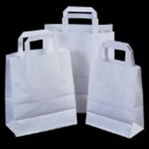 WHITE-BROWN-FLAT-HANDLES-SOS-TAKE-AWAY-PARTY-PAPER-BAGS-LUNCH-FOOD-MULTI-LISTING