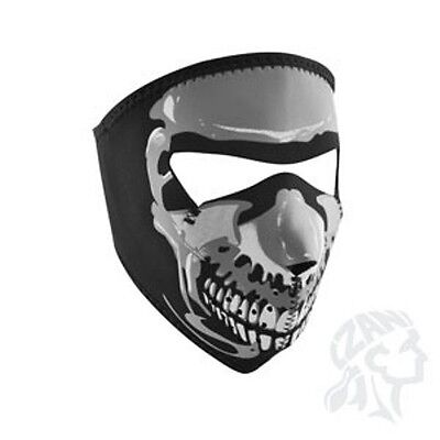 Chrome Skull Halloween Costume (Chrome Grey Skull Neoprene Full Face Mask Biker ATV Ski Free Shipping)