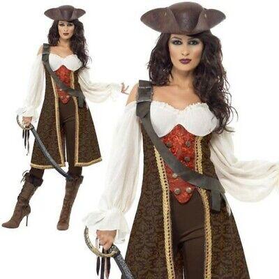 Damen Piratenbraut Maskenkostüm Hoher See Karibischer Freibeuter Neu