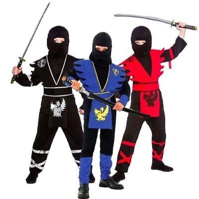 Jungen Kinder Ninjas Asassin Japanisch Krieger Kostüm Age 3-13 (Japanischen Ninja Krieger Kostüm)