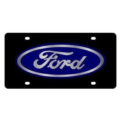 Eurosport Daytona 3501-1 License Plate Ford Blue Oval Logo Carbon Stainless