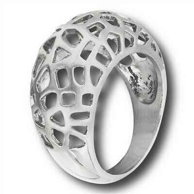 Stainless Steel Brushed Filigree Dome Ring - Free Gift (Brushed Stainless Steel Dome)