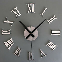New Metal DIY Silver Vintage Roman Numeral Number Frameless Wall Clock 3D Room
