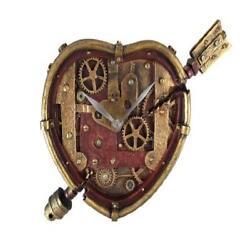 New Wall Clock Steampunk Heart Pierced Cupid Gearwork Painted Resin Home Office