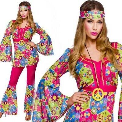 Erwachsene 60er Jahre 70er Hippie Hippy Damenmode Kleid Kostüm - 60er Mode Kostüm
