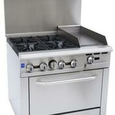 Falcon Food Service 36 4 Burner Gas Range W 12 Griddle Right Oven