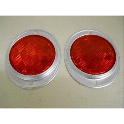 "(2) Red 3"" Round Truck Semi Trailer Mail Box Reflex Reflectors / Aluminum Base"