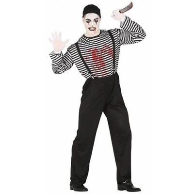 Adult Bloody Mime Costume French Circus Halloween Fancy Dress - French Mime Halloween