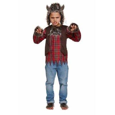 Boys Werewolf Wolf Boy Halloween Kids Fancy Dress Costume Ages 4-12