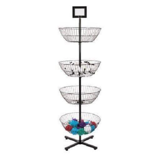 4 Basket Display Wire Floor Tier Spinner Rack Dump Bin Retail Sign Holder