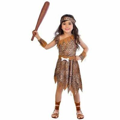 Kinder Höhlenmädchen Tiermuster Kostüm Steinzeit Kostüm Robe Gürtel - Kind Braune Robe Kostüm