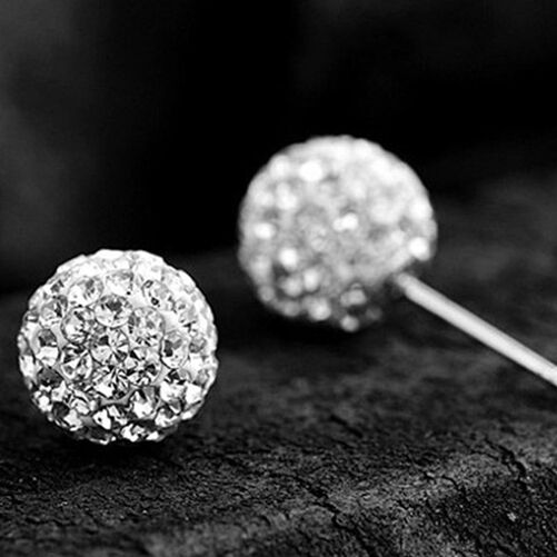 2015 New High Fashion 1 Pair 925 Silver Crystal Ball Earrings Earring 10mm Prom