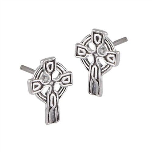 Irish Celtic Sterling Silver Celtic Cross stud earrings
