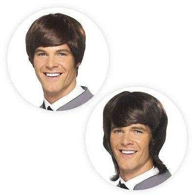Mens Mod Wig 60s 70s 80s Brown Hairstyle Era Party Retro Fancy Dress Accessory - 70s Mens Hairstyles