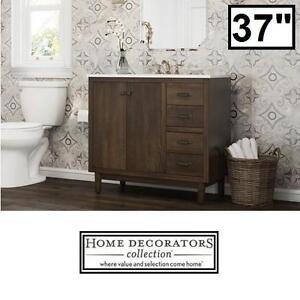 "NEW HDC 37"" MARBLE VANITY COMBO - 121974826 - HOME DECORATORS COLLECTION BRISBANE WEATHERED OAK BATHROOM CABINET CABI..."