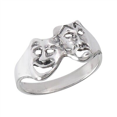 Sterling Silver Comedy Tragedy Ring - Free Gift - Comedy Tragedy Ring
