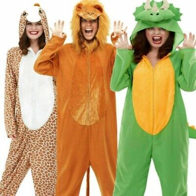 Erwachsene Tier Kostüm Deluxe Kapuzenoverall Lion Giraffe Dinosaur Herren Damen