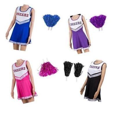 Damen Cheerleader Kostüm Kleid Outfit mit Pom Poms High School Musical