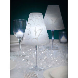 Glowing wedding table decorations wine glass lampshade for Wine glass lamp centerpiece