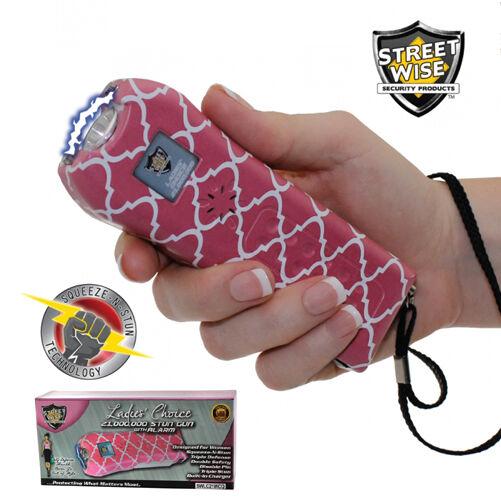 Ladies Choice 21,000,000 Volt STUN GUN ALARM - Fashion PINK WHITE Streetwise - $18.87