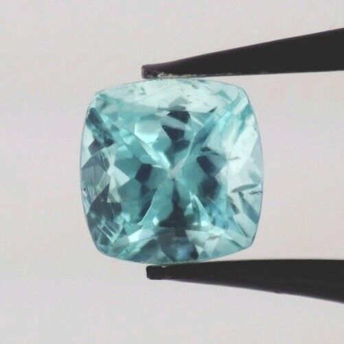 BLUE APATITE 6 MM CUSHION CUT VERY NICE COLOR ALL NATURAL F-834